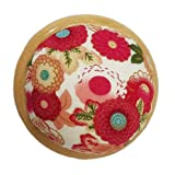 GAMESPFF Round Pin Cushion with Wooden Base and Printed Floral Fabric Coated for Daily Needlework (Pink) (Color: Pink)