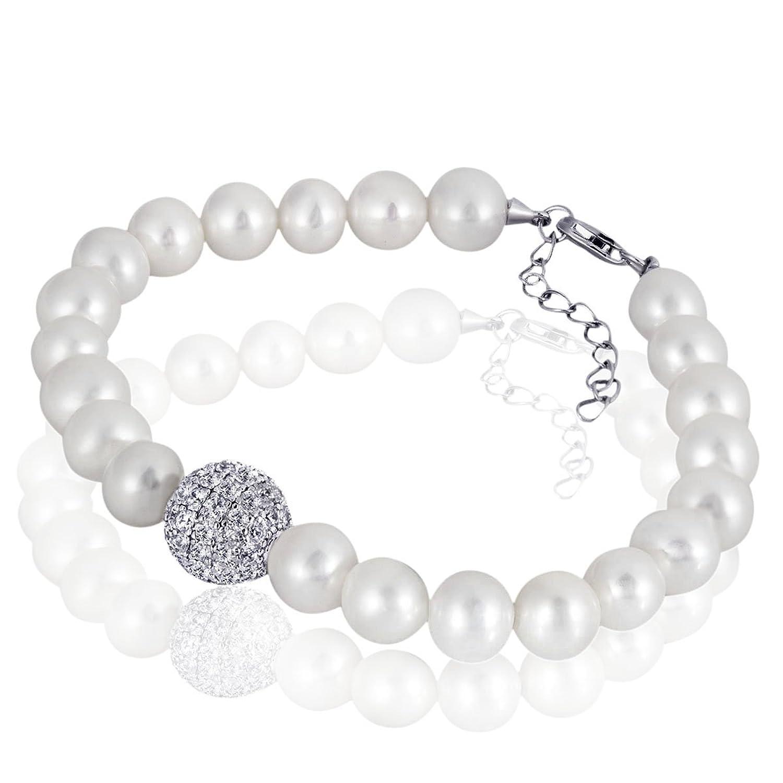 Goldmaid Damen-Armband 925 Silber rhodiniert Kristall Rundschliff Süßwasser-Zuchtperle Weiß – Pe A6981S günstig