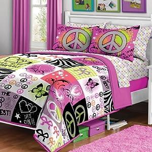 Amazon Com Unique Peace Signs Hippie Twin Bedding