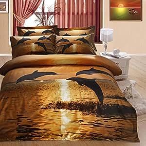 Memorecool a casa in 3d effetto tramonto delfini che - Amazon biancheria letto ...
