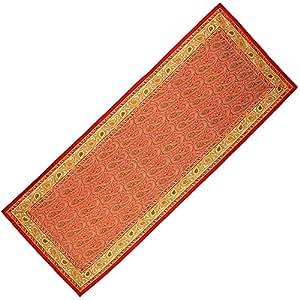red green table runner brocade silk decor indian 14 x 36 inch. Black Bedroom Furniture Sets. Home Design Ideas