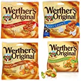 Bundle (4 Items) Werther's Originals Variety Pack (Original Hard Candies/Chewy Caramels/Creamy Caramel Filled/Caramel Apple Filled)