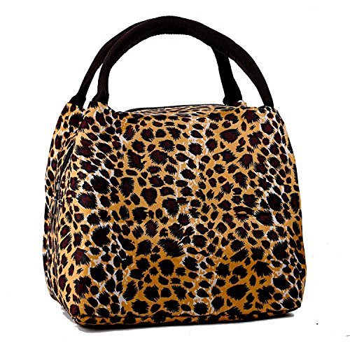Girls Colorful Small Dinner Meal Lunch Bag Box Picnic Travel Grocery Totes Handbag, Leopard