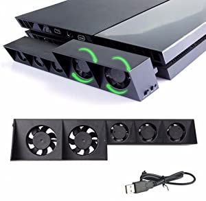 PS4 Cooling Fan, USB External Cooler 5 Fan Turbo Temperature Control Cooling Fans for Playstation4 PS4 Gaming Console (Black) #81199