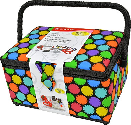 Best Deals! Singer 07278 Multi Bright Dots Large Sewing Basket