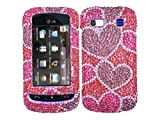 Purple Hearts Pink Bling Rhinestone Faceplate Diamond Crystal Hard Skin Case Cover for LG Xenon GR500 Reviews