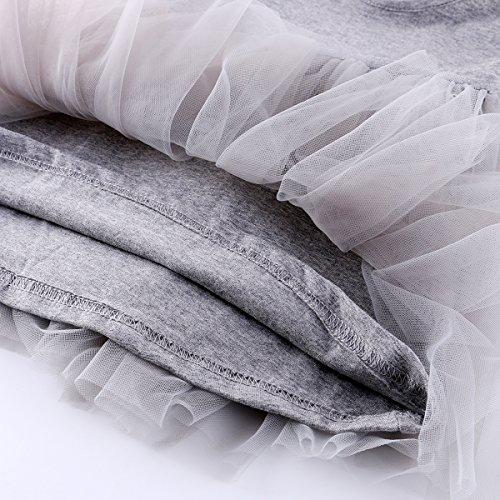 Baby Girl Dress Toddler / Kids Pleated Princess Tutu Skirt with Tshirt Top Grey 80cm(9-12M)