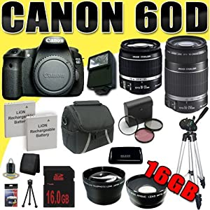 Canon EOS 60D 18 MP CMOS Digital SLR Camera w/ EF-S 18-55mm f/3.5-5.6 IS Lens & EF-S 55-250mm f/4.0-5.6 IS Telephoto Zoom Lens Wide Angle/Telephoto 16GB DavisMAX Bundle