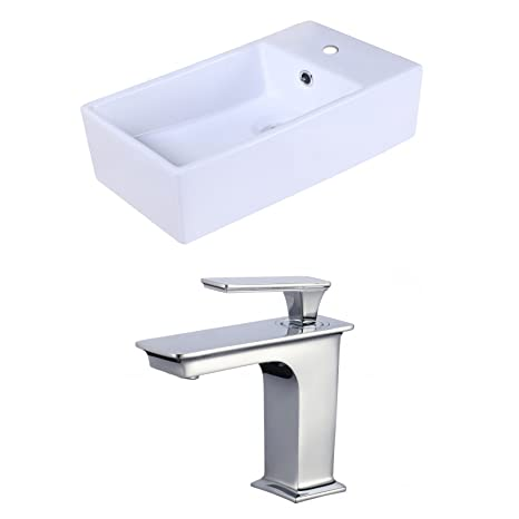 "Jade Bath JB-18040 18.9"" W x 9.45"" D Rectangle Vessel Set with Single Hole CUPC Faucet, White"