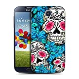 Head Case Designs Blue Florid of Skulls Replacement Battery Back Cover for Samsung Galaxy S4 I9500