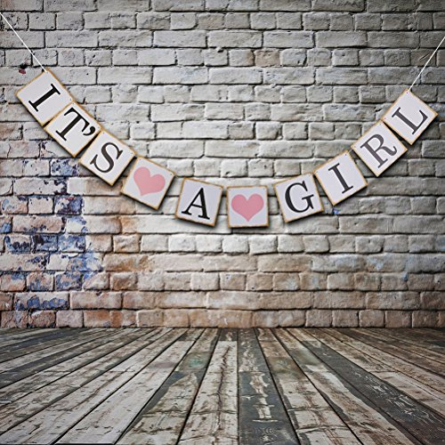 Pixnor IT IS A GIRL Paper Garland Bunting Banner Christening Baby Shower Garland Decoration Birthday Party Favors (Baby Shower compare prices)