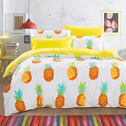 Cliab Pineapple Bedding Queen Bed Sheets 100% Cotton Duvet Cover Set 7  Pieces