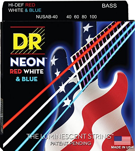 Dr Strings Nusab-40 Coated Nickel 4-String Bass Guitar Strings, Light, 40-100, Neon Red/White/Blue