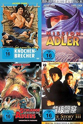 Jackie Chan Fanpaket (Sie nannten ihn Knochenbrecher, Die Schlange im Schatten des Adlers, Mission Adler, Police Story 3) (4 Filme auf 4 DVDs)