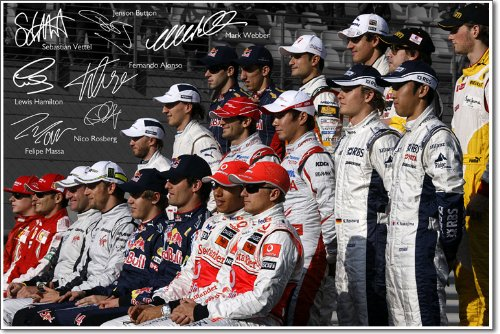 FORMULA 1 SIGNED PHOTO PRINT - WITH AUTOGRAPHS OF 7 TOP DRIVERS F1 - 12x8 A4 GLOSSY POSTER AUTOGRAPH