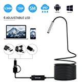 Endoscope USB, KinCam 3 in 1 Semi-Rigid USB Borescope 1200P HD with 5.5mm Waterproof Snake Camera with 6 Adjustable Led for Android Smart Phone, Table