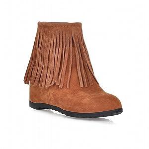 Show Shine Women's Fashion Hidden Wedge Heel Tassels Boots Ankle Boots (7.5, black)