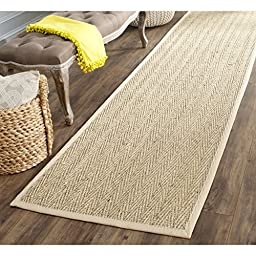 Safavieh Natural Fiber Collection NF115A Natural and Beige Seagrass Runner, 2 feet 6 inches by 10 feet (2\'6\