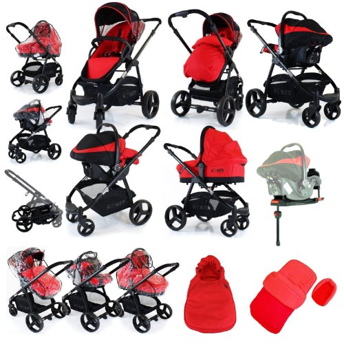 i-Safe System - Red Travel System Pram & Luxury Stroller 3 in 1 Complete With Footmuff, Head support, Carseat Footmuff, All the Raincovers iSafe (BASE SOLD SEPERATLY)
