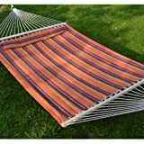 Hammock Double Size Quilted Fabric Heavy Duty Sleep Bed W/Pillow + wooden stick-stripe-purple-orange color
