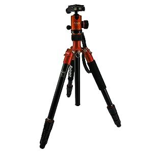 Fotopro 三脚/一脚 C-5i OR 4段 中型 自由雲台 アルミ製 オレンジ 79490