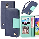 Galaxy S5 Case,Case for Samsung Galaxy S5,By HiLDA,Wallet Case,PU Leather Case,Credit Card Holder,Flip Cover Skin,Galaxy SV I9600[Blue]