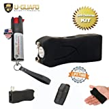 Pocket Taser Pepper Spray Kit (1) High Volt Amp Mini Stun Gun Flashlight (1) Police Strength Pocket Keychain 1/2 oz Tear Gas Best Self Defense Weapons For Women or Men Taser Color (Black) (Color: Black, Tamaño: Small)