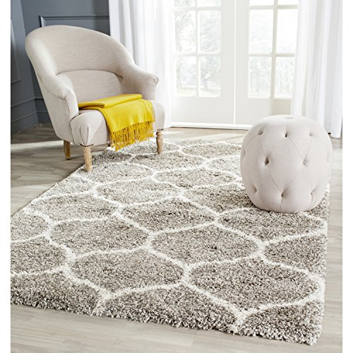 Safavieh Hudson Shag Collection SGH280B Grey Background and Ivory Area Rug, 8 feet by 10 feet (8' x 10')