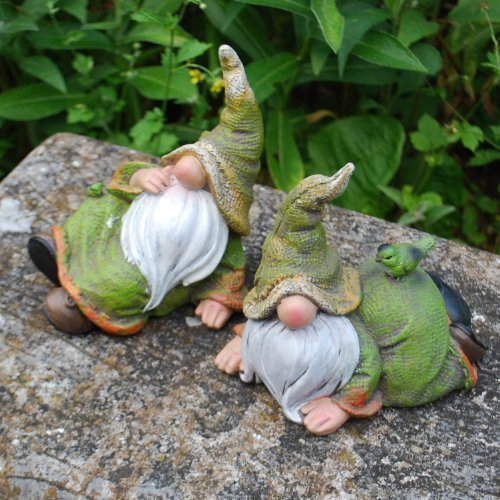 Pair of Laying Woodland Resin Garden Gnome Ornaments in Rustic Coloured Finish