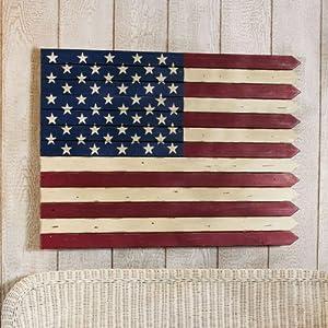 40 Rustic Painted Wood Americana Flag Wall Art