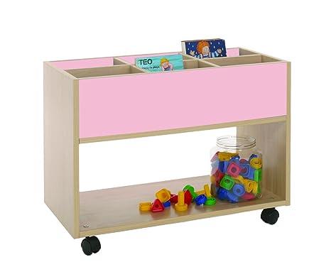 Mobeduc 600904HR22 Carrello-Libreria alta, in legno, colore: faggio/bianco, 80 x 40 x 58 cm