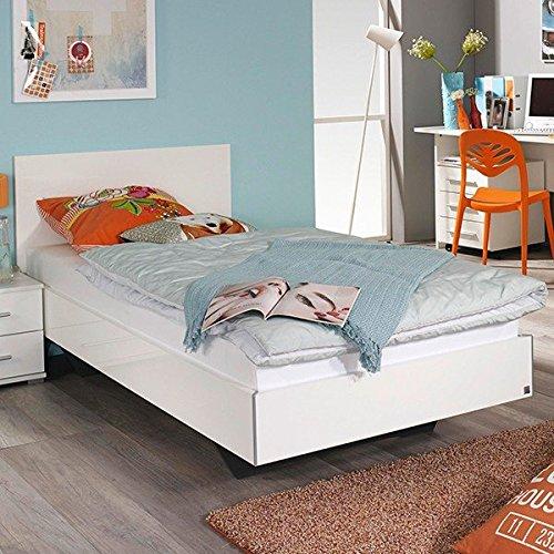 Jugendbett-Miri-90200-cm-hochglanz-wei-Jugendliege-Einzelbett-Kinderbett-Tagesbett-Holzbett-Bettliege-Bett-Bettgestell-Bettrahmen
