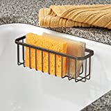 InterDesign Gia Kitchen Sink Suction Holder for Sponges, Scrub Brushes, Soap - XL, Bronze