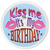 Beistle BL014 Kiss Me, It's My Birthday Blinking Button, 2-Inch