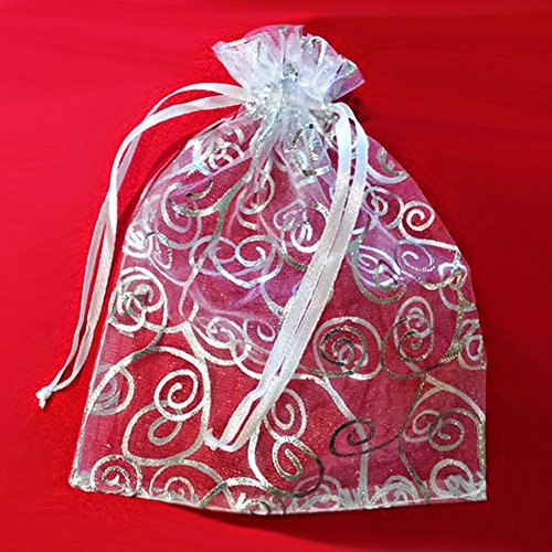 "50 Organza Gift Bags (White with Silver Details, 4.5""x6"")"