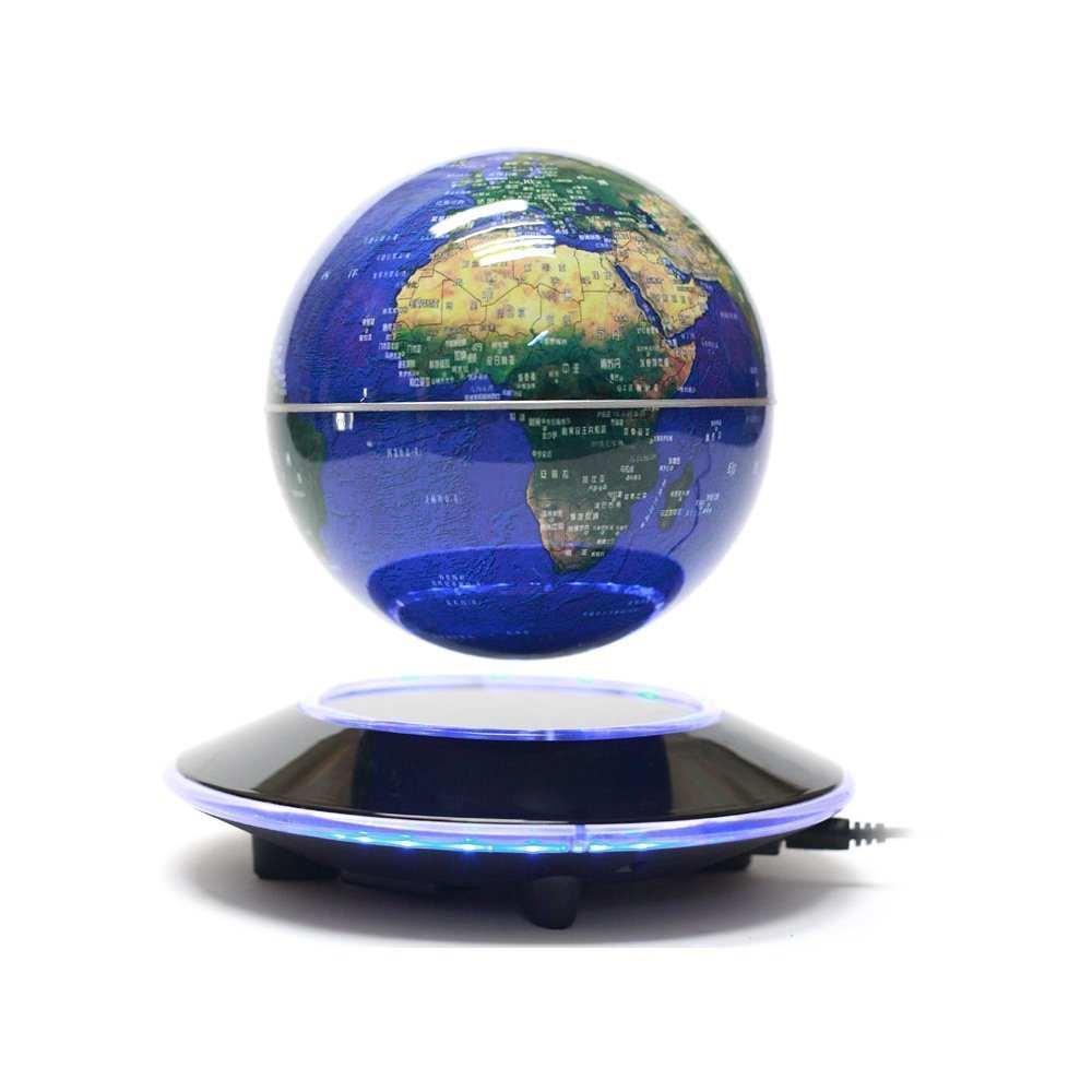 Senders 6Inch Floating Globe with LED Lights Magnetic Levitation Floating Globe World Map for Desk Decoration (Blue,6Inch) 0