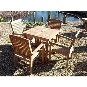 4 Seater Square Teak 80cm Dining Set Wood Garden