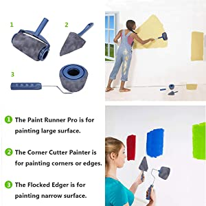 Multifunctional Paint Runner Pro Kit,MSDADA House Paint Roller Brush Kit with 2 Paint Roller Pro, Extendable Rod, Painting Brush Set for House,School & Office Wall,Ceiling Painting (Wear Resistant) (Color: Silver/Gray)