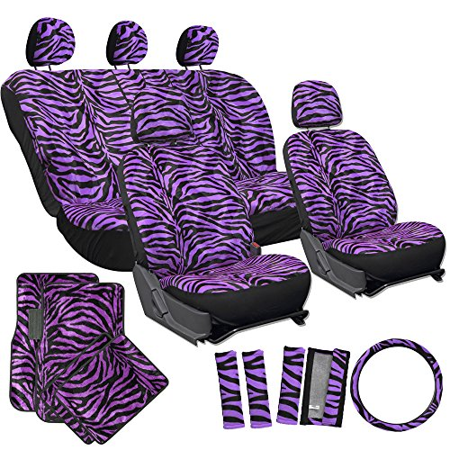 Oxgord 21 Pc Purple Zebra Print Seat Covers And Purple Zebra Print Floor Mats For Ford Taurus front-69360