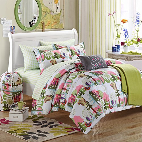 Chic Home Back To School Owl 9-Piece Comforter Set Full Size, Shams Decorative Pillows And Sheet Set Included front-67403