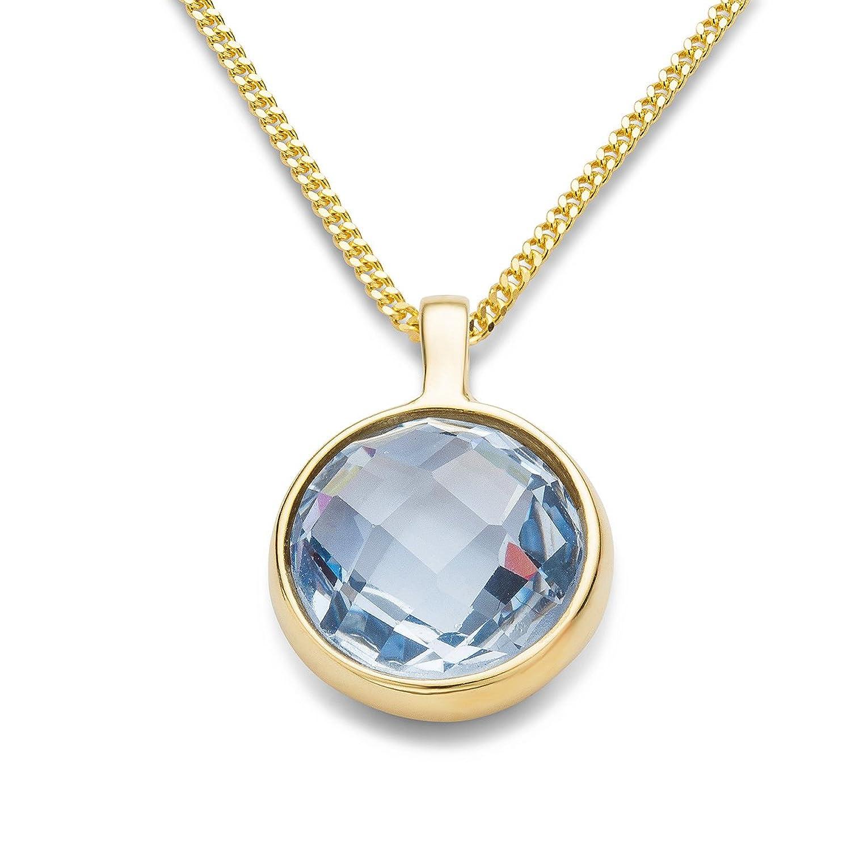 Miore Damen-Anhänger Damen-Halskette 9 Karat ( 375 ) Gelbgold Blue Topaz Stein 2.5ct. Kette 45 cm Quarz blau Rundschliff - MNA9060N