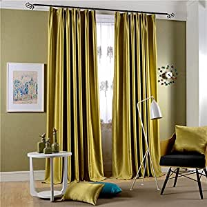 Leyden Versatile Pleat Classic Solid Chartreuse Bright Velvet Curtains Curtain