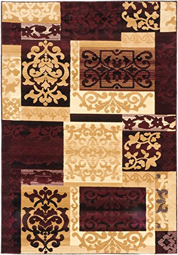 Ecarpetgallery Casual Crown Patchwork 6' x 9' Red living room dining room arearug
