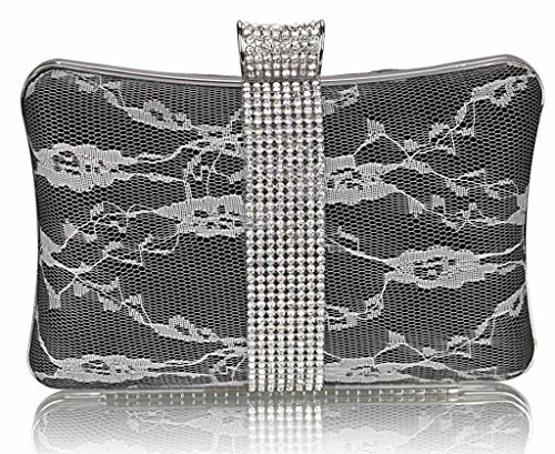 Women's Clutch Bags Evening Party Purses Floral Satin Lace Bag Handbag