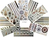 10 Bögen Set Metallic Tattoo Flash Tattoo Aufkleber Einmal Tattoo