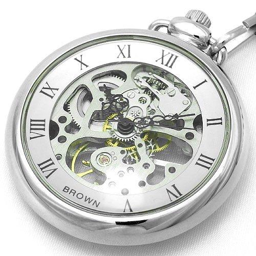 BROWN (ブラウン) 懐中時計 メカニカル ポケットウォッチ 両面スケルトン 925J-SVSV