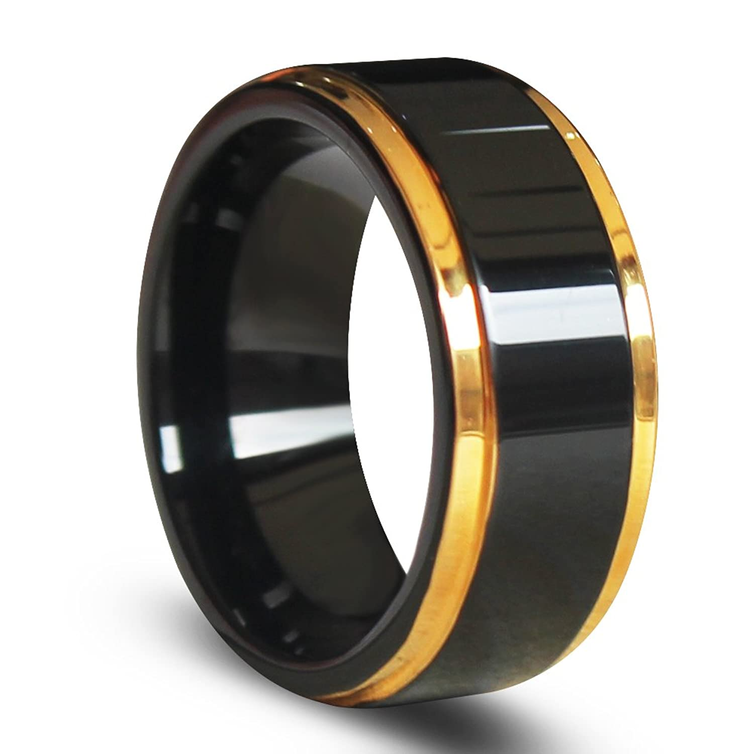 EZreal Gold Edges and Raised Center Top Polished Black Tungsten Carbide Rings , Men
