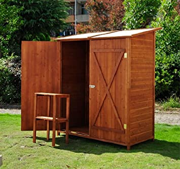 Outsunny casetta per esterno in legno ripostiglio da giardino armadio esterno - Ripostiglio per terrazzo ...