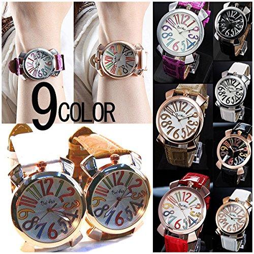 (EピンクゴールドXキャメル) トップリューズ式 ビッグフェイス腕時計 36mm GaGa MILANO ガガミラノ好きに メンズ腕時計 レディース腕時計 ユニセックス腕時計 男女兼用 ペアウォッチに最適 (全9色)