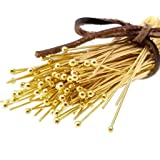 150pc Gold Solid Brass Head Ball Pins for Jewelry Making- Nickel Free - 70mm (3 inch), 21 Gauge